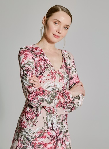 People By Fabrika Çiçek Desenli Elbise Renkli